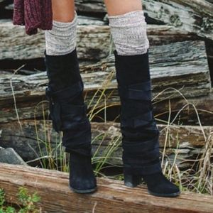 FP Collection Paradiso Black Wrap Boots, 9.5
